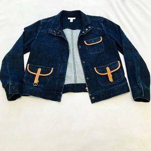 Charter Club Leather Trim Denim Jacket!
